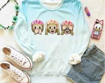 3 Monkeys Ombre Sweatshirt- Hear no evil, See no evil, Speak no evil