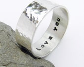 Hand stamped Sterling silver hammered ring, personalised silver ring, custom stamped ring, message ring, made to order ring, mens or womens