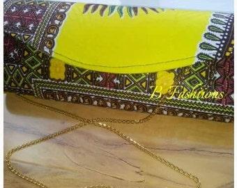 Yellow Dashiki clutch bag