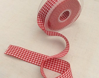 Fabric tape 25mm Red and white checks 16,4 feel ( 5 metres)