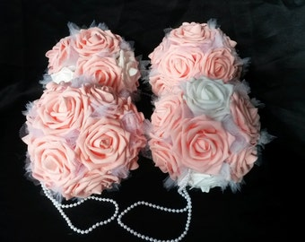 Elegant Pink/ White Artifical Flower Kissing Ball Pomander With Faux Pearl Handle
