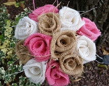 Handmade burlap wedding bouquet DIY roses Flowers modern bridal shower mother daughter pink white natural rustic country vintage farmhouse