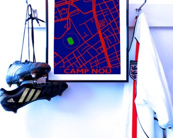 BARCELONA Camp Nou, street map, art poster A3 print. FCB .Barca Blaugrana Unique to my store