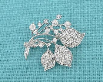 Rhinestone Crystal Brooch Silver Wedding Brooch Bridal Brooch Wedding Cake Sash Brooch Craft Supplies