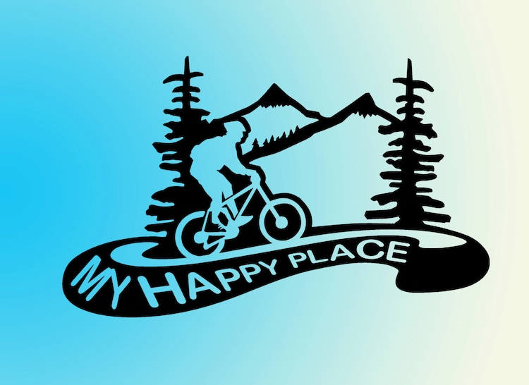 Mountain Biking Vinyl Decal Sticker My Happy Place By