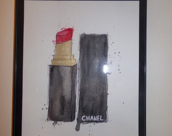 Chanel Lipstick / Home Decor/ Painting/ Art/ Coco Chanel / Drawing / designer