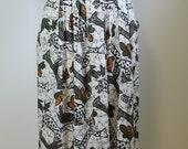 80s animal print midi skirt, Pleated Tropical print skirt, 90s Ethnic, Graphic Hand drawn, 80s, African, Black and White, Zebra, Giraffe,
