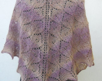 Hand Knit Shawl, Knit Shawl, Grey and light purple Shawl,Hand knit lace shawl, woman accessory, knitted wrap gift for her