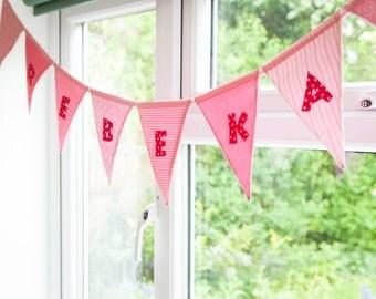 Personalised bunting, Named bunting, Baby name bunting, Girl's bunting, Baby girl bunting, New baby bunting, Baby banner, Baby girl banner
