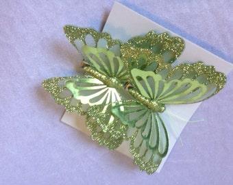 Butterfly 2 Butterflies Green 4 Inches Butterfly Embellishments Artificial Butterflies Scrapbooking