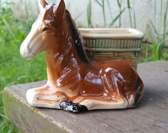 Vintage Ceramic Planter Brown Horse with Basket