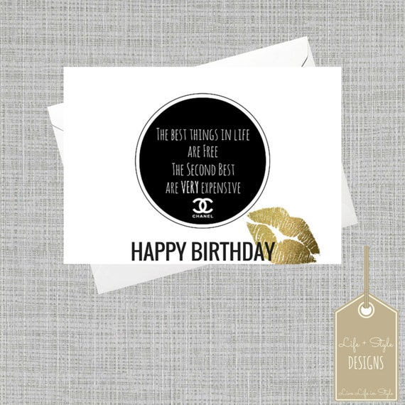 Fashion Birthday Best Things in Life are Free Birthday Card – Fashion Birthday Cards