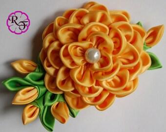 Bridal hair piece , Kanzashi flower ,Yellow flower alligator clip , wedding hair flower , bridal hair clip
