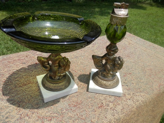 Vintage Ashtray And Lighter Table Set By Forwardmotiondesigns