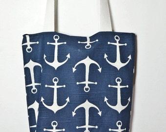 Tote bag Natical bleu Navy, Anchors Indigo bleu bag, water resistant bag with cotton slub duck, summer bag, beach handbag, summer beach