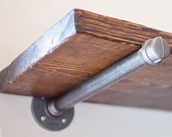 Industrial Styled Galvanized Wall Shelf Brackets (Set of 2)