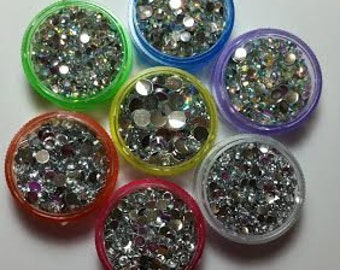 Clear & Clear Ab resin flatback rhinestones 5000 pcs plus container kawaii decoden phone case bling