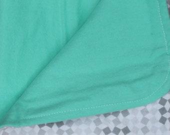 Geo Print and Teal Receiving Blanket