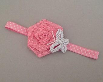 Baby headband, newborn headband, baby girl headband, burlap headband, pink headband, toddler headband, flower girl headband, flower headband