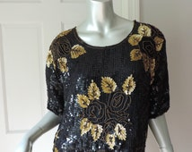 vintage black gold TROPHY Top size Large Boxy Hi-Lo Hem 80s sequins and beads Royal Feelings India