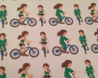 bicycling exercise fitness stickers -  for your EC, PP, planner