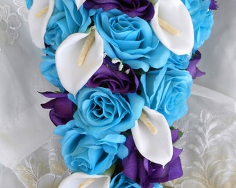 Silk Turquoise Malibu blue and royal purple wedding set 17 pieces Brides , Matron of Honor , Brides Maids and more .   Free small toss