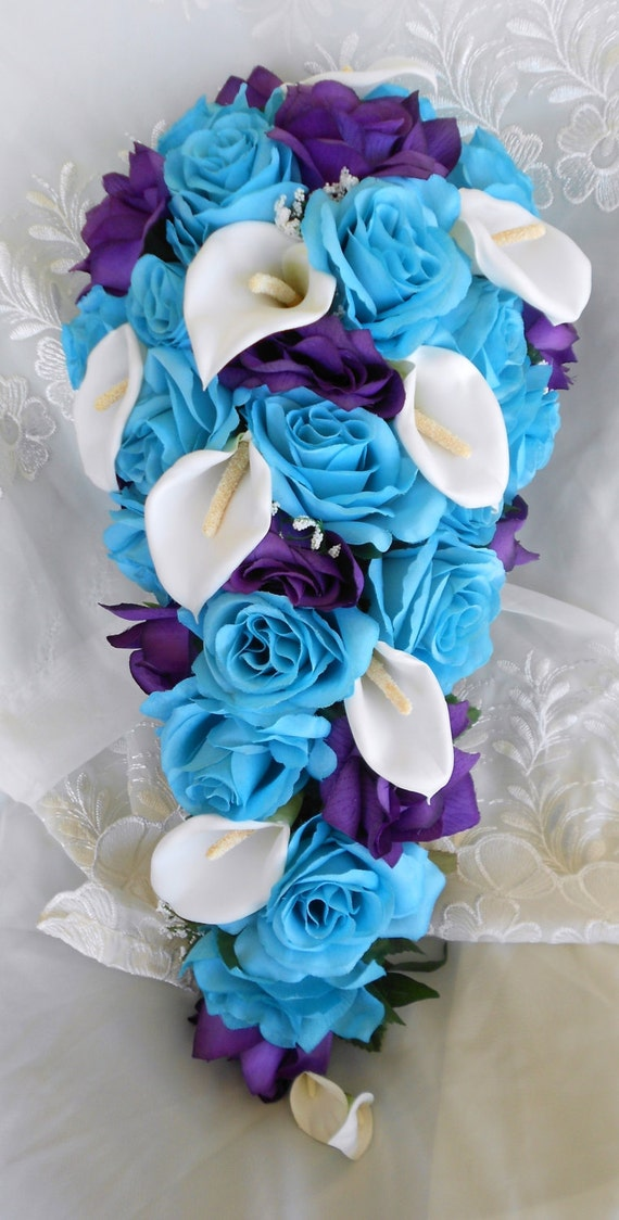 Malibu blue white and royal purple cascade wedding bouquet 2pc. Free small toss