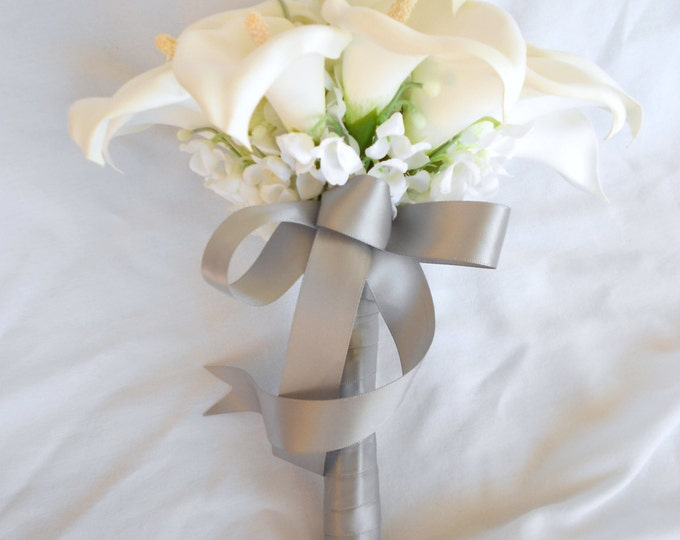 silk Calla lilies and lilies of the Valley ,diamond white nosegay bouquet 2 pc