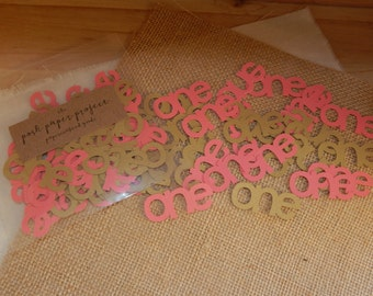 """Pink and Gold """"One"""" Confetti - 50 Pieces"""