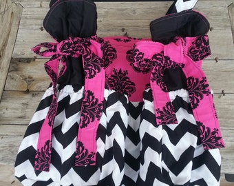 Pink Damask and Shevron dipper bag