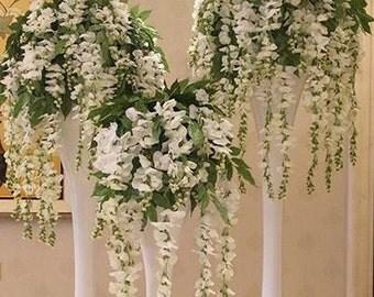 50 x Wedding Artifical White Wisteria Flower Vines Garlands Decoration