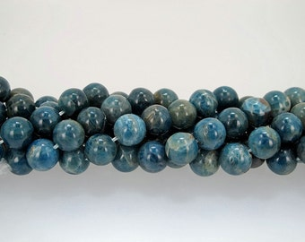 Natural Blue Apatite Round Gemstone Beads 8mm, half strand
