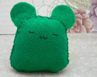 Little Green Hamster: Felt Mini Plush with Hand Embroidered Face
