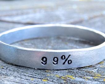 99% handstamped bracelet, occupy bracelet, hand stamped bangle, political statement bracelet, we're the 99 percent, 99 percent bangle