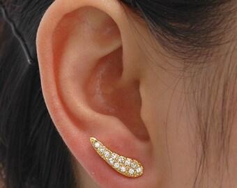 Gold earrings, Earrings, Crystal earrings, Gold stud earrings, Small earrings, Metal studs, Ear cuff