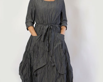 Gray maxi cotton dress/Casual loose cotton dress/Long oversize dress/Long sleeves dress/Oversized dress/Maxi dress/Two big pockets/D1460