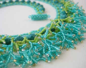 Summery turquoise aqua and lime green fringed beadwork necklace