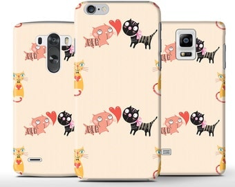 Minimal Love Cats Black Pink Hard Case Cover Apple iPhone 5 5s 5c 6 Plus Samsung Galaxy S6 s4 s5 Note 3 4 Sony Xperia Z3 Z1 Z2 Lg G2 G3