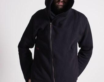 Black hoodie, Fastened diagonally, Cotton, Navaho