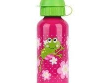 Personalized Girl Frog Stainless Steel Water Bottle / Stephen Joseph / Monogrammed Water Bottle / Personalized Kids Drinkware / Vinyl Decal