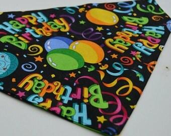 Happy Birthday Bandana (fits over dog collar)