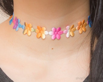 Multicolor daisy choker necklace - 90s flower choker - Floral accesory