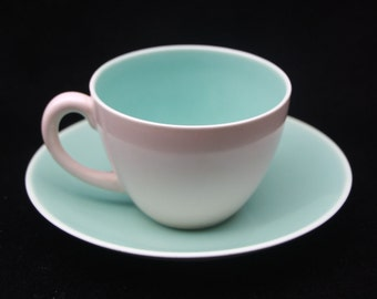 Classic Vintage Poole Twintone Seagull and Ice Green Coffee Cup and Saucer Duo