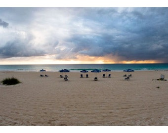 Caribbean Beach photo,Morning Umbrellas Harbor Island,Beach Sunrise Photo,Beach umbrellas,Wall Art, Home Decor, Dramatic Photo, Nature Photo