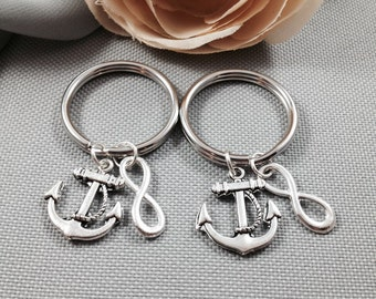 Anchor keychains, infinity keychain, best friend keychain, bff keychain, friendship keychain, nautical keychain