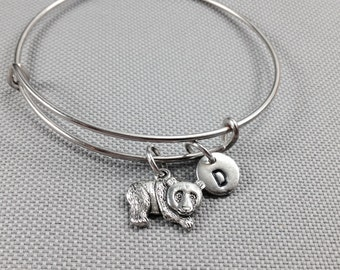Panda bear bangle bracelet, panda bracelet, animal bracelet, personalized bracelelt, panda jewelry, initial bracelet