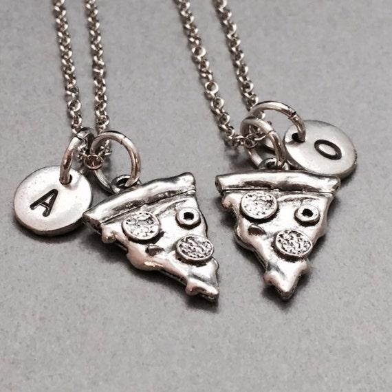 best friend necklace pizza charm necklace bff necklace