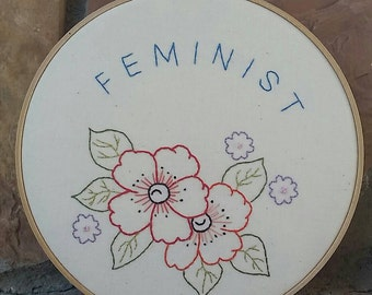 Feminist floral embroidery