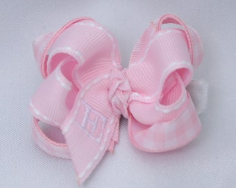 Pink Gingham Monogrammed Baby Bow