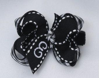 Black Gingham Monogrammed Baby Hair Bow